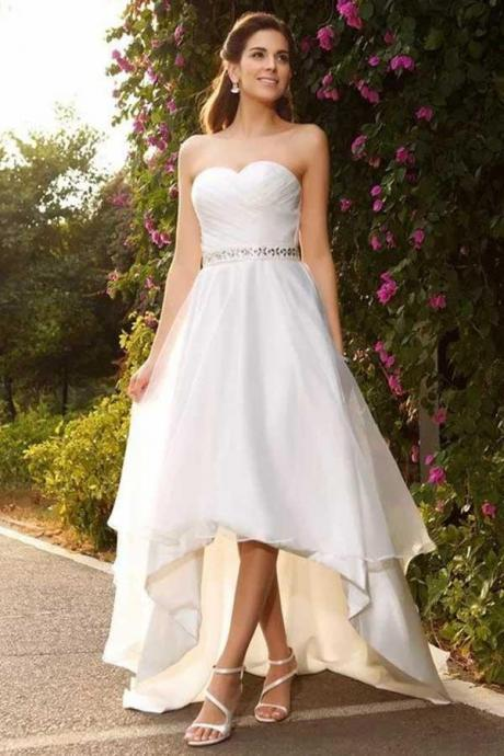 A-Line Sweetheart High Low Chiffon Wedding Dress with Beading WD231