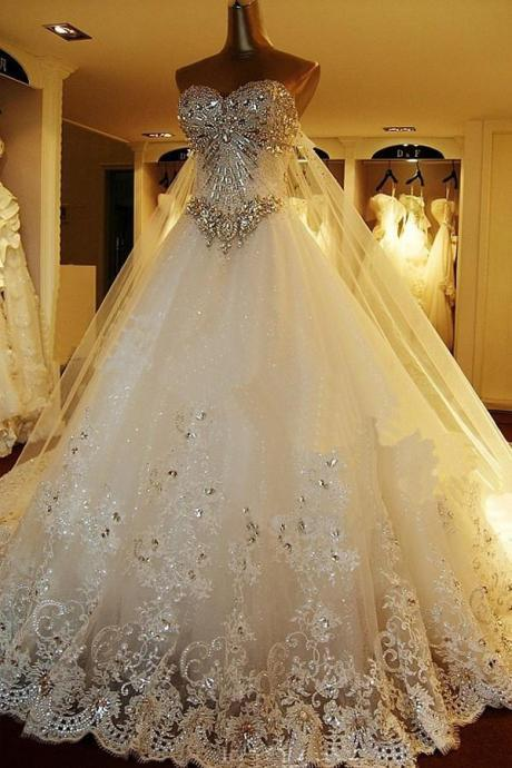 Sweetheart Ball Gown Watteau Train Wedding Dress with Appliques Beading WD022